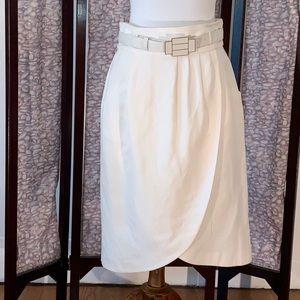 Antonio Melani white Linen wrap-skirt.